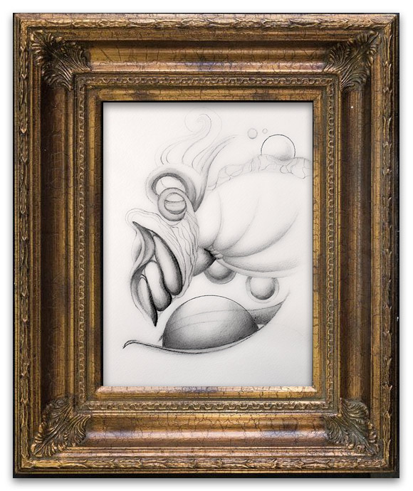 Framed drawing by Sabina Nore