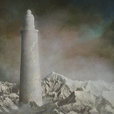 Wabi-sabi of the Ivory Tower, painting by Sabina Nore